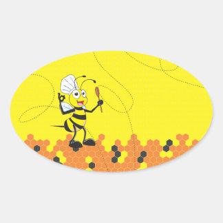 Espátula amarilla linda del gorra del cocinero de pegatina ovalada