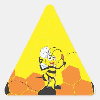 Espátula amarilla linda del gorra del cocinero de pegatina triangular