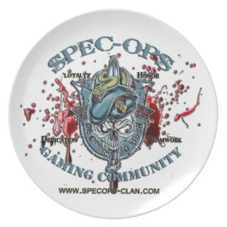 Espec -Ops Logotipo 2 Bld de la comunidad del jueg Plato Para Fiesta