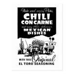 Especia de chili con carne del anuncio del vintage tarjetas postales