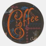 Especia del café etiquetas redondas