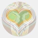 Especia verde Lables del corazón Pegatina Redonda