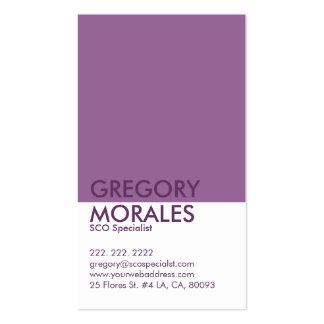 Especialista blanco del monograma y púrpura tarjetas de visita