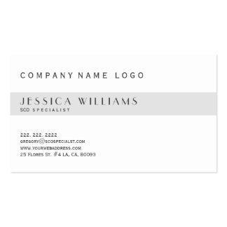 Especialista blanco y gris claro moderno simple de tarjetas de visita