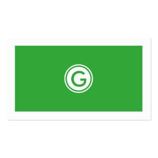 Especialista blanco y verde moderno elegante de tarjetas de visita