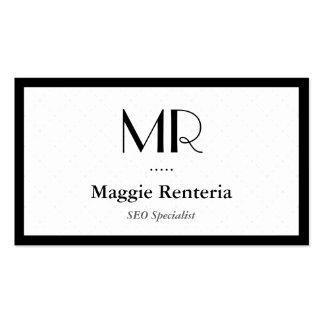 Especialista de SEO - monograma elegante limpio Tarjetas De Visita