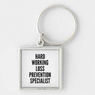 Especialista de trabajo duro de la prevención cont llavero cuadrado plateado