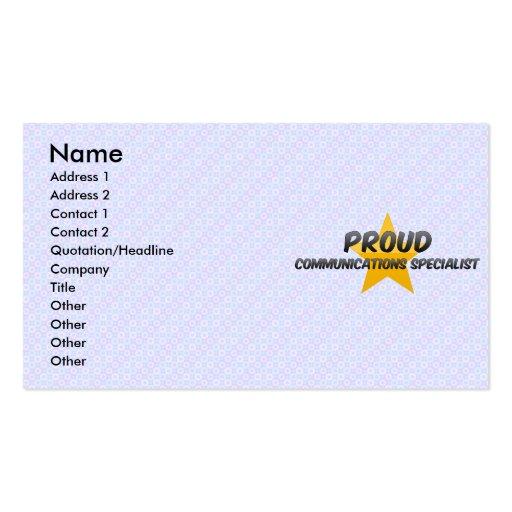 Especialista orgulloso de las comunicaciones tarjetas de visita