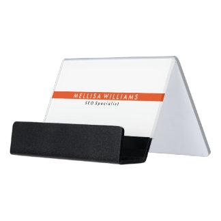 Especialista rojo blanco y coralino mínimo de la caja de tarjetas de visita para escritorio