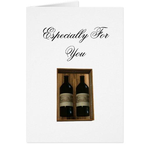 Especialmente para él tarjeta de las botellas de v