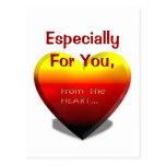 Especialmente para usted del corazón, postal