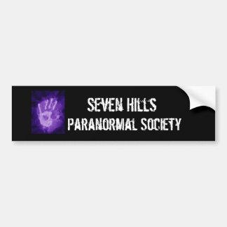especialmente, siete colinas, sociedad paranormal pegatina de parachoque