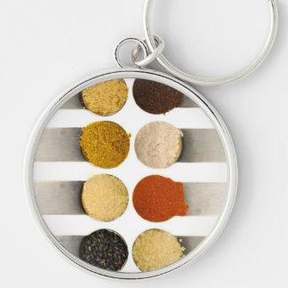 Especias de las hierbas y ingredientes pulverizado llavero personalizado