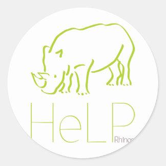 Especie de la prioridad: Rhinos Pegatina Redonda