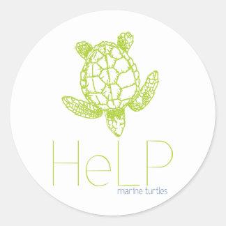Especie de la prioridad: Tortugas marinas Pegatina Redonda
