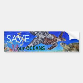 Especie en peligro arte de la tortuga de mar pegatina para auto