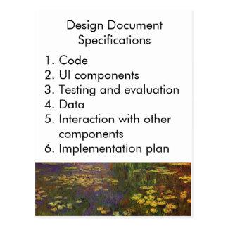 Especificaciones del documento del diseño postales