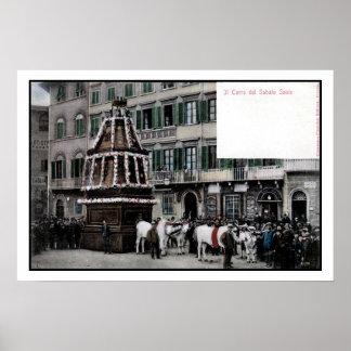 espectáculo de Florencia Italia Scoppio del Carro Poster