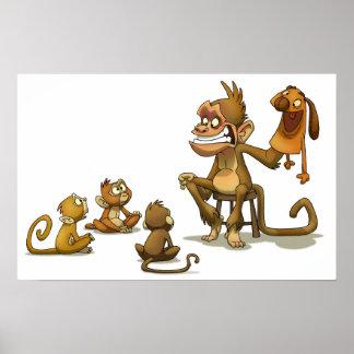 Espectáculo de marionetas del mono póster