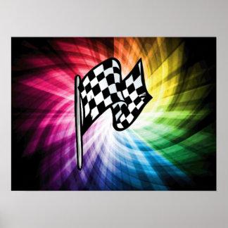 Espectro a cuadros de la bandera poster