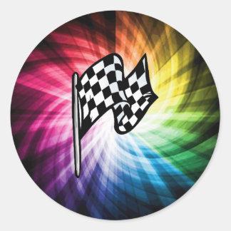 Espectro a cuadros de la bandera etiquetas redondas