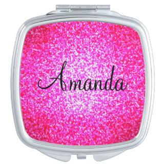 Espejo brillante rosado adaptable del acuerdo del espejo para el bolso
