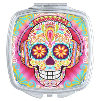 Espejo colorido del acuerdo del cráneo del azúcar espejo de viaje