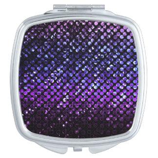 Espejo compacto Bling cristalino púrpura Strass