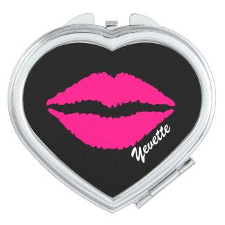 Espejo compacto de encargo de la impresión rosada