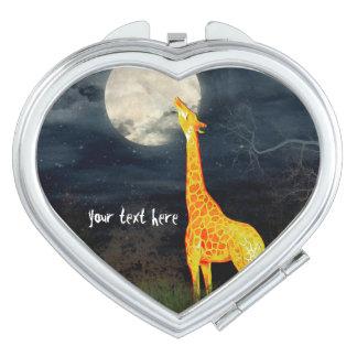 Espejo compacto de encargo de la jirafa y de la