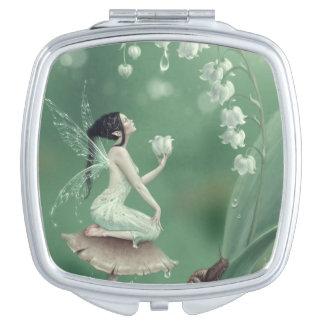 Espejo compacto de hadas de la flor del lirio de l