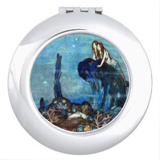 Espejo compacto de la sirena dos del vintage