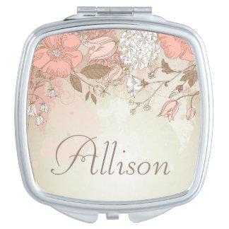 Espejo compacto floral elegante - personalice