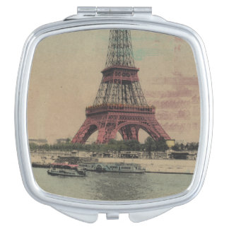 Espejo compacto francés del vintage de la torre Ei