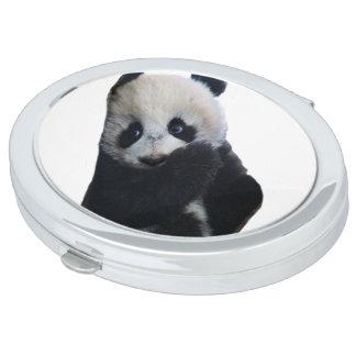 Espejo compacto oval de la panda