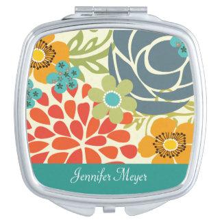 Espejo compacto personalizado jardín floral del tr