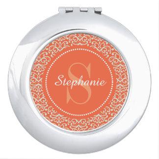 Espejo compacto personalizado monograma anaranjado