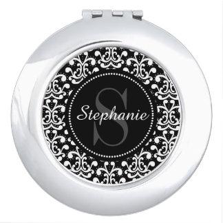 Espejo compacto personalizado monograma negro del