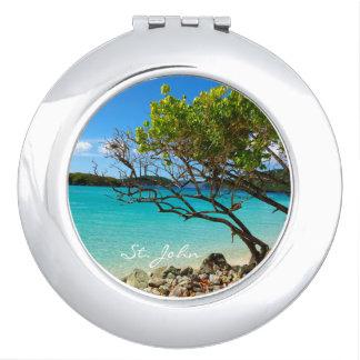Espejo compacto redondo de la bahía del canela de