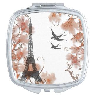 Espejo compacto romántico de la torre Eiffel de Pa