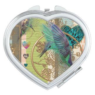 """espejo corazón """"colibrí """" espejos para el bolso"""