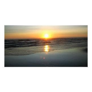 Espejo de la playa tarjeta fotografica personalizada