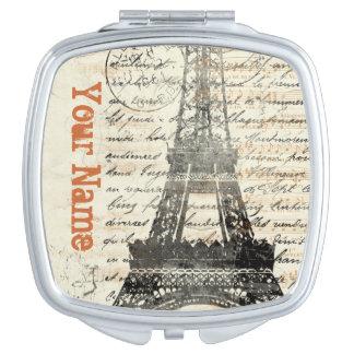 Espejo del acuerdo del diseño francés del vintage espejo de viaje