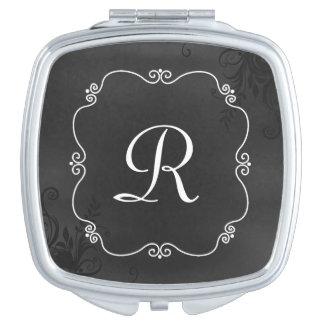 Espejo del acuerdo del monograma de la mirada de l espejo maquillaje