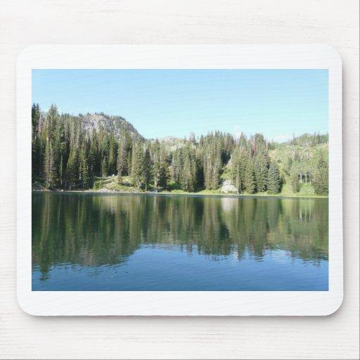 espejo del árbol de pino en el lago alfombrilla de raton