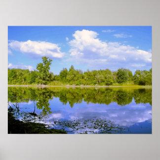 Espejo del lago en la primavera posters