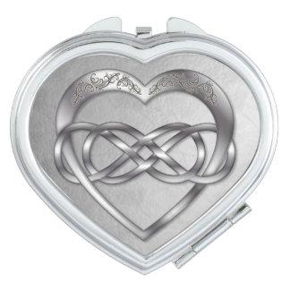 Espejo doble del acuerdo del Corazón-Corazón de la Espejos De Maquillaje