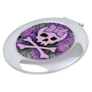 Espejo femenino púrpura del cráneo espejo para el bolso