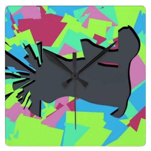 Espejo quebrado reloj cuadrado