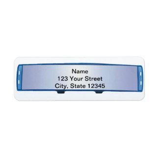 Espejo retrovisor azul en pendiente azul etiquetas de remite